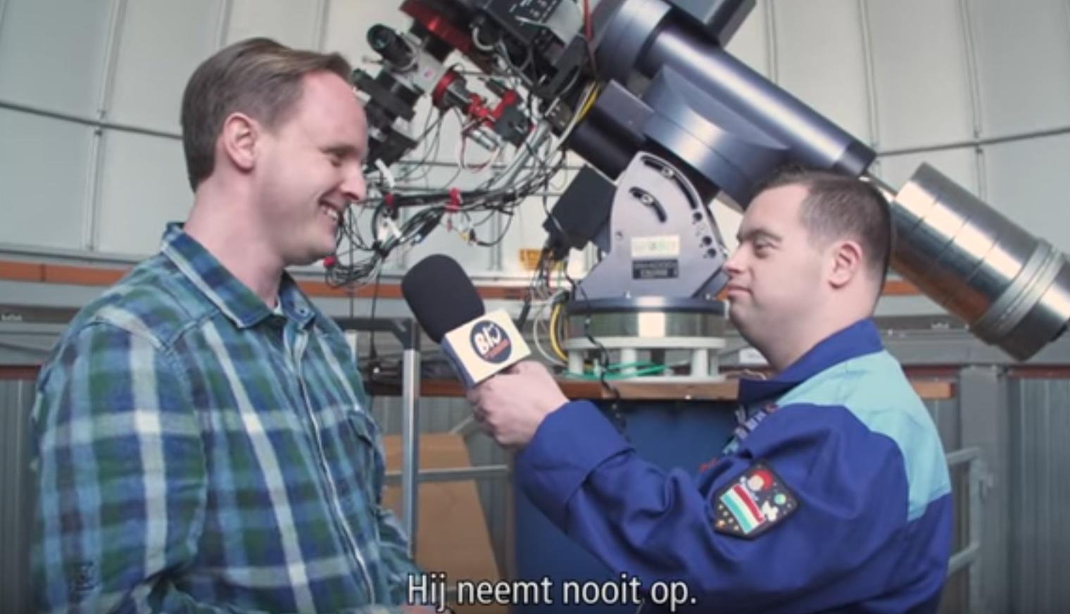 Lucas en André Kuipers worden geïnterviewd door de beroemde vlogger Sjoerd, 19 mei 2017
